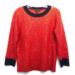 J. Crew Sequins Red Navy Wool Sweater Top Holiday